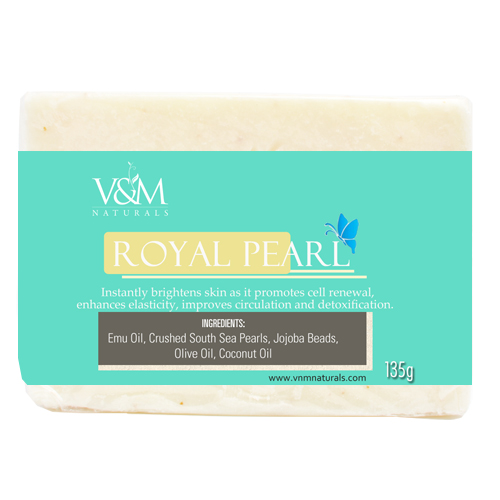 V&M Naturals Royal Pearl Soap with Emu Oil and crush pearls
